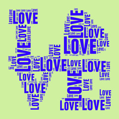 Green and blue vintage pop art style words cloud LOVE