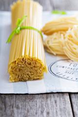Raw pasta on a napkin