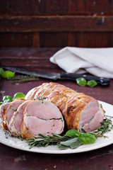 Roasted pork tenderloin with herbs