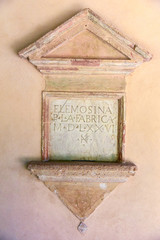alms box, plaque with inscription in Latin,