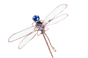 Handmade stained glass dragonfly isolated on white