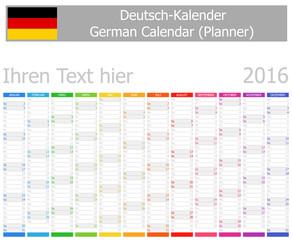 2016 German Planner Calendar with Vertical Months