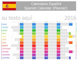 2016 Spanish Planner Calendar with Horizontal Months