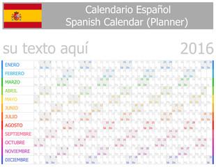 2016 Spanish Planner-2 Calendar with Horizontal Months