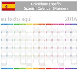 2016 Spanish Planner-2 Calendar with Vertical Months