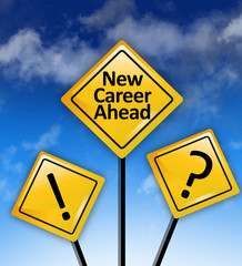 New career ahead road sign