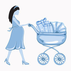 Young  pregnant woman with a blue baby carrier full of presents
