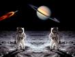 Astronauts Saturn Planet Moon - 75549107