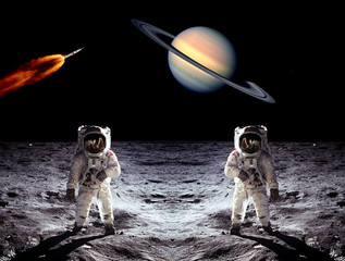 Astronauts Saturn Planet Moon