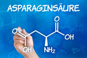 Hand mit Stift zeichnet chemische Formel von Asparaginsäure