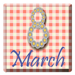 The icon for March 8 with daisies and tablecloths