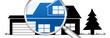 lb20 LupenBanner Lupe - hgb9 HausGarageBaum - blau2 - g2942