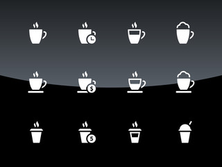 Cup icons on black background.