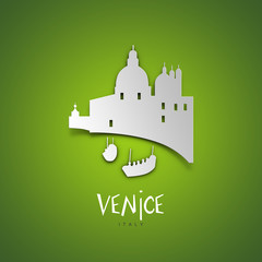 Venice, Italy. Green greeting card.