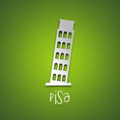 Pisa, Italy. Green greeting card.