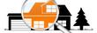 lb22 LupenBanner Lupe - hgb11 HausGarageBaum - orange2 - g2944