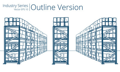 Vector illustration of Warehouse Shelves, Outline Series.