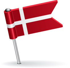 Danish pin icon flag. Vector illustration