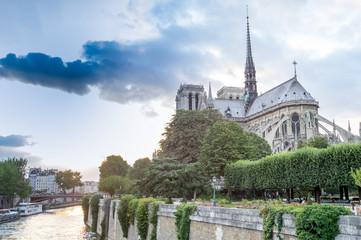 Notre Dame view at dusk, Paris