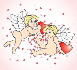 two little Cupid flying with hearts13