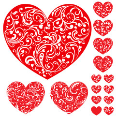 Set of red hearts with curls