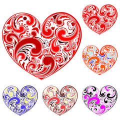 Set of hearts made of curls