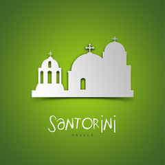 Santorini, Greece. Green greeting card.