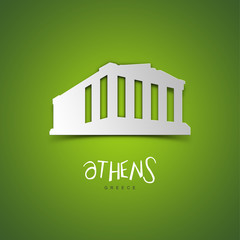 Athens, Greece. Green greeting card.