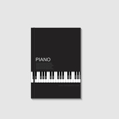 Vector modern piano book on gray background.