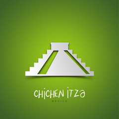 Chichen Itza, Mexico. Green greeting card.
