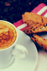 italian creamy expresso with cantuccini biscuits