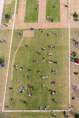 Aerial view of tourists on a beautiful garden