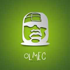 Olmec, Mexico. Green greeting card.