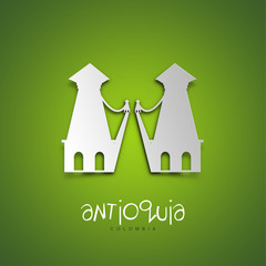 Antioquia, Colombia. Green greeting card.