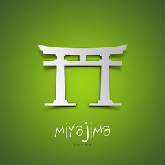 Miyajima, Japan. Green greeting card.