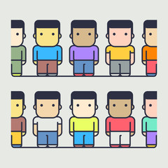 multi-ethnic characters. society