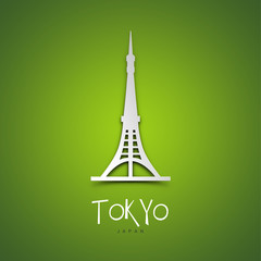 Tokyo, Japan. Green greeting card.