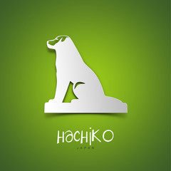 Hachiko, Japan. Green greeting card.