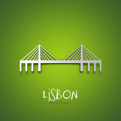 Lisbon, Portugal. Green greeting card.