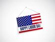 labor day us hanging flag illustration