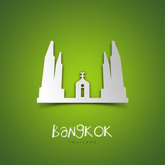 Bangkok. Green greeting card.