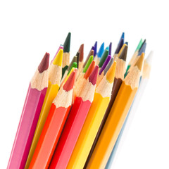 Bunch of colorful pencils isolated on white background