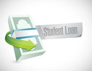 student loan money bills illustration