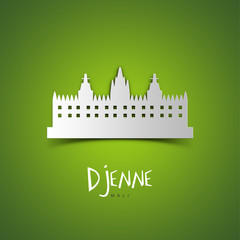 Djenne, Mali. Green greeting card.