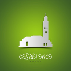 Casablanca, Morocco. Green greeting card.