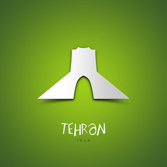 Tehran, Iran. Green greeting card.