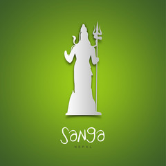 Sanga, Nepal. Green greeting card.