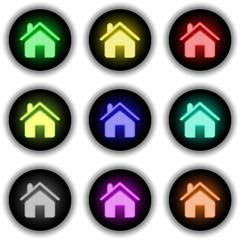 Button Glow 9er Home (weiß)
