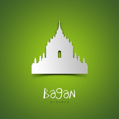 Bagan, Myanmar. Green greeting card.