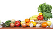 canvas print picture - Fruits and vegetables isolated white background